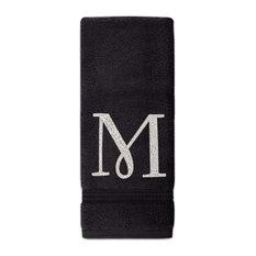 Sparkles Home Rhinestone Hand Towel with Monogram, Black, Silver