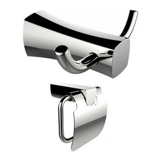 American Imaginations Double Robe Hook and Toilet Paper Holder Set