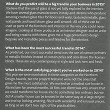 My interior design predictions for 2015, read in in Cheshire Life