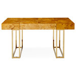 Jonathan Adler - Bond Executive Desk - Architectural rigor meets the warmth of burled wood in our Bond collection. Featuring natural, honey-hued mappa wood and a bold polished brass base, our large and in charge Bond Executive Desk features three fully finished drawers on one side and a single drawer on the reverse for a partner desk experience. Hidden pulls create a clean silhouette that works its minimalist magic from any angle. Form plus function equals fabulously cool.