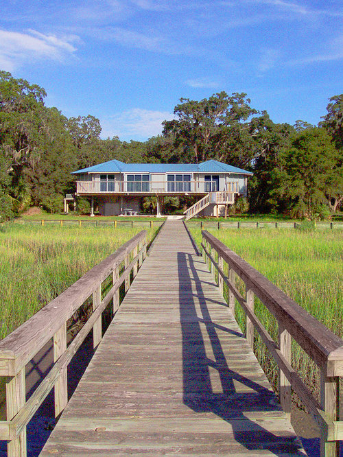 elevated hurricane proof home on pilings stilts - Hurricane Proof Homes Design