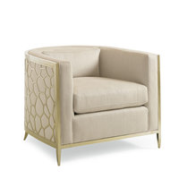 Ice Breaker, Barrel Back Club Chair With Gold Frame