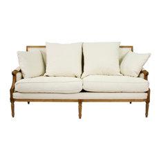 St. Germain French Country Natural Oak Louis XVI White Sofa   Sofas