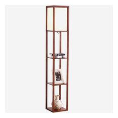 Brightech Maxwell Drawer Edition - Shelf & LED Floor Lamp Combination, Walnut Br