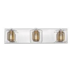 Reese III Vanity light 28'; Mirror Stainless Steel w/Bronze shade