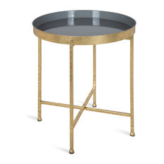 Celia Round Metal Side Table, Gold Gray