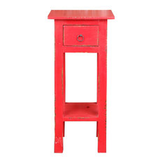 Narrow Side Table Distressed Antique Red