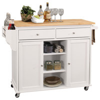 Kitchen Island, Natural and White, Rubber Wood, MDF