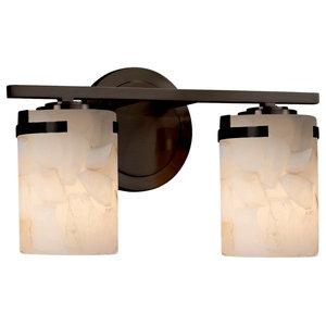 Justice Designs Alabaster Rocks Atlas 2-Light Bath Bar, Dark Bronze
