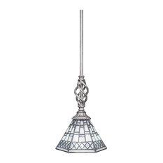 "Elegante Mini Pendant, 7"" Pewter Tiffany Glass"
