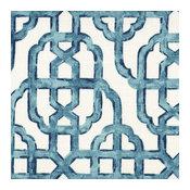 "Pinch Pleated Curtain Panels Pair Imperial Seaside Lattice Blue Cotton, 84"""