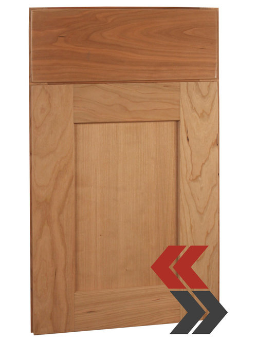 Rustic Natural Cherry Wood Cabinets in a Simple Shaker Style