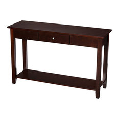 Contemporary Console Table Narrow Design With Front Drawer Brown