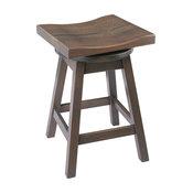 Rustic Urban Swivel Bar Stool in Quarter Sawn Oak, Antique Slate, Counter Height