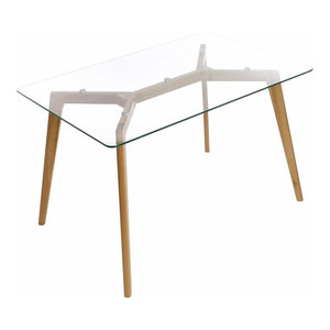 Modern Stylish Dining Table, Solid Wood Oak Legs and Tempered Glass Top
