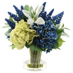 Creative Displays and Designs, Inc. - Hydrangeas and Lambs Ear Arrangement - Eye catching blue and green hydrangeas accented with lambs ear and vivid blue heather. The perfect arrangement to accent your home or office! Product may arrive slightly compressed. Primping or reshaping may be necessary.