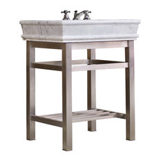 Stainless Steel Bath Vanity 30-inch Carrera Marble Top Open Shelf Console Package