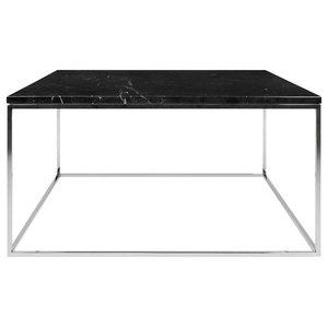 Gleam Square Coffee Table, Black Marble, Chrome Feet