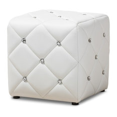 Anzy - Modern and Contemporary Faux Leather Upholstered Ottoman, White - Footstools and Ottomans