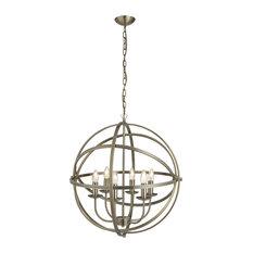 Orbit 6-Light Cage Frame Pendant, Antique Brass