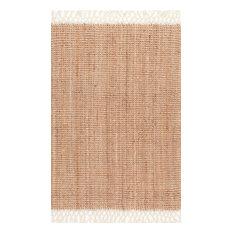 nuLOOM - Fringe Handwoven Jute Area Rug, Natural, 6'x9' - Area Rugs