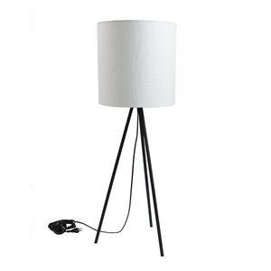 Narrow Fabric Table Lamp, White