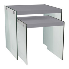 Monarch Specialties   2 Piece Glossy Gray Nesting Table Set, Tempered Glass    Coffee