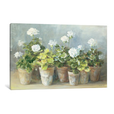 """White Geraniums Gallery"" by Danhui Nai, 40x26x1.5"""