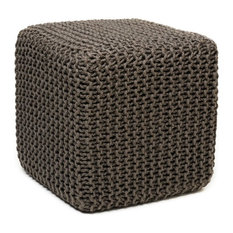 Gray Jute Pouf, Square