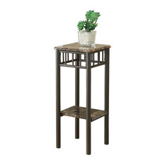 Monarch Specialties   Accent Table, Cappuccino Marble, Bronze Metal   Side  Tables And End