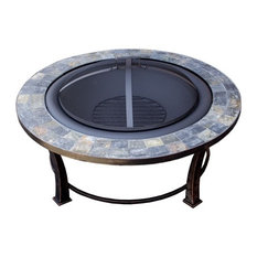 "AZ Patio Heaters - Round Slate Top Wood Burning Firepit, 40"" - Fire Pits"