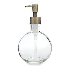 Moon Round Glass Soap Dispenser With Brass Pump
