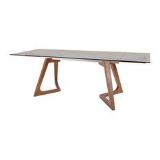 Modrest Ruthie Modern Smoked Glass and Walnut Extendable Dining Table
