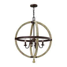 Solid Distressed Wood 4-Light Chandelier