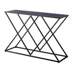 Greta Entryway Console Sofa Table Black Metal Frame & Gray Wood Top