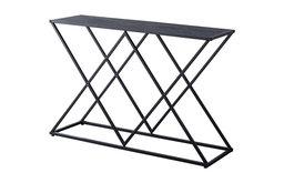 Greta Entryway Console Sofa Table, Black Metal Frame & Gray Wood Top
