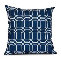 "O the Fun, Geometric Print Outdoor Pillow, Blue, 20""x20"""