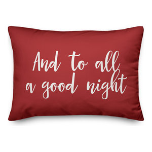 And To All A Good Night, Red 14x20 Lumbar Pillow