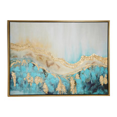 Turquoise and Gold Contemporary Abstract Painting, Metallic Wood Frame