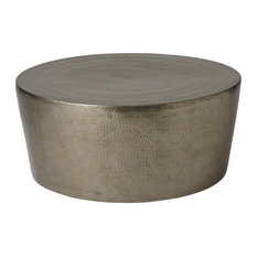 Hudson Home Decor Global Views Izmir Hammered Cocktail Table Antique Nickel Coffee Tables