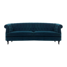 Http://yourspacefurniture.com   Covina Oval Diamond Tufted Traditional Sofa  In Navy