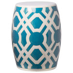 Emissary Home and Garden - Turquoise Labyrinth Garden Stool - Garden stool with a labyrinth print design, and a turquoise glossy glaze. Clean by hand to preserve the finish of the stool. Due to the hand made nature of the piece, color may vary slightly.