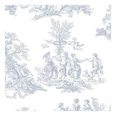Romantic Toile Light Blue, White, Sample, Small