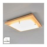EasyDim LED ceiling light Mylan, wood and glass