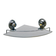 Bathroom Corner Shower Caddy Frosted Acrylic Shelf Suction Mounted