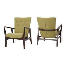 GDF Studio Suffolk French Style Fabric Arm Chairs, Wasabi, Set of 2
