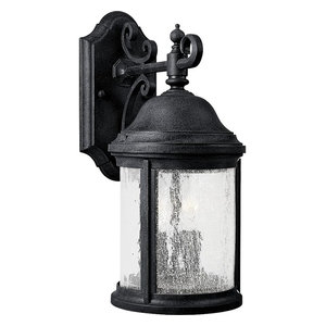 Progress Lighting 2-Light Wall Lantern With Water Seeded Glass Curved, Black