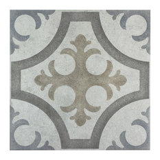 """SomerTile - 13.13""""x13.13"""" Asturias Decor Jet Ceramic Floor and Wall Tiles, Set of 9, Mix - Wall and Floor Tile"""