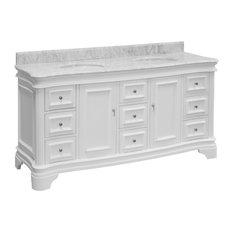 "Katherine Bath Vanity, Carrara and White, 72"", Top: Carrara Marble"
