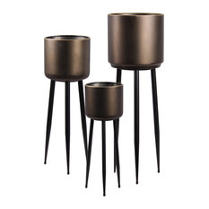 3-Piece Round Plant Stand Set With Gold Edges and 3 Legs